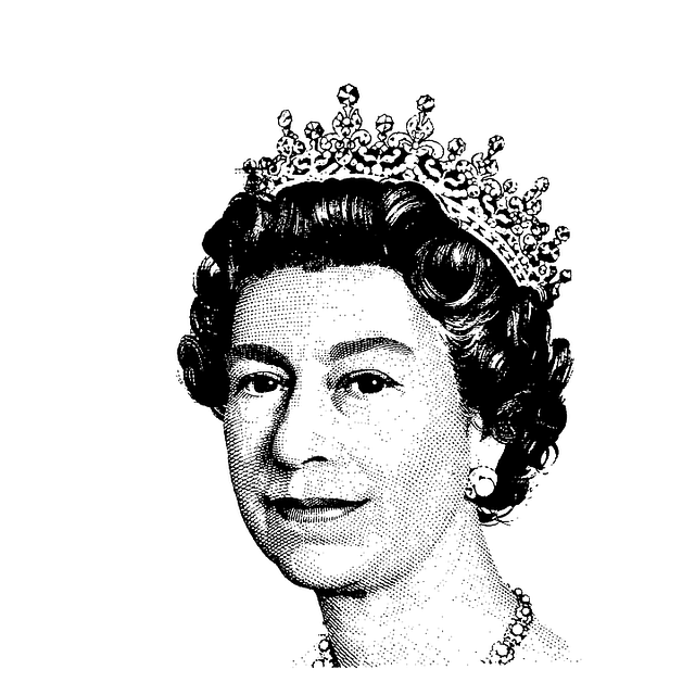 Black and white sketch of Queen Elizabeth II