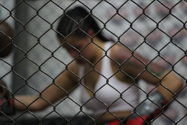 Female fighter getting ready inside the ring
