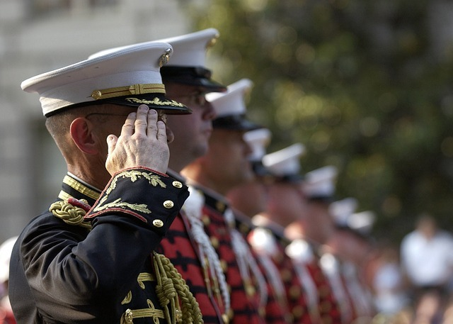 A row of soldiers saluting
