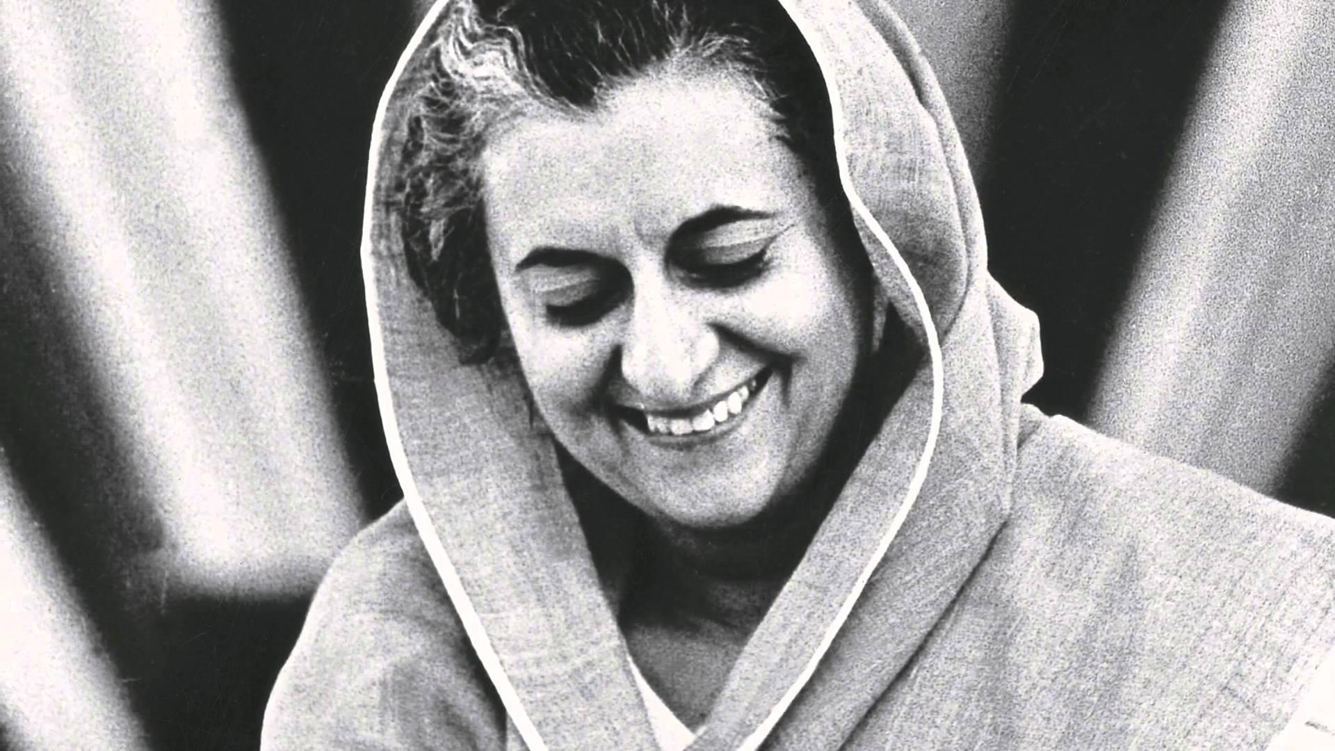 Black and white potrait of Indira Gandhi