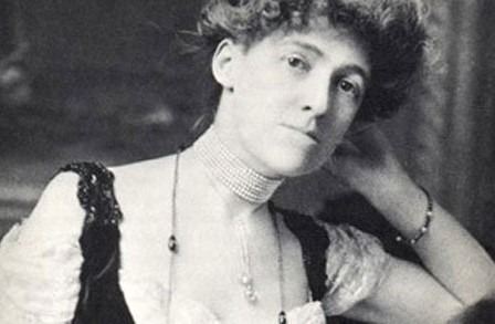 Black and white picture of Edith Wharton reclining