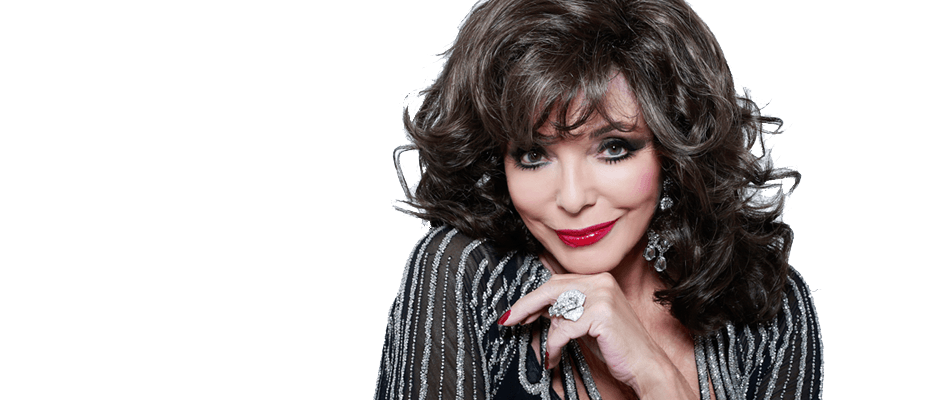 Joan Collins posing with a white background