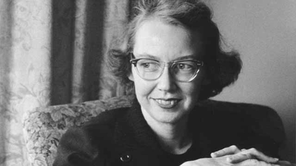 Black and white portrait of Flannery O'Connor