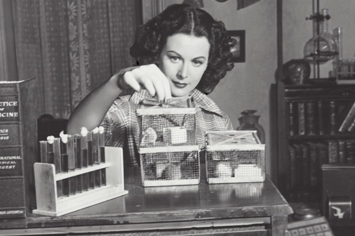 Hedy Lamarra tinkering at her desk