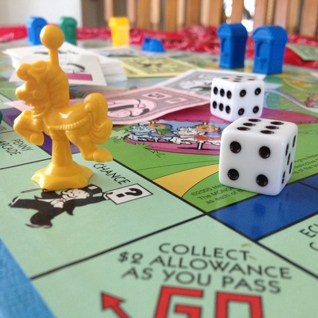 Close-up of a Monopoly board