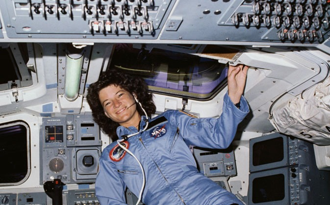 Sally Ride floating in a space shuttle