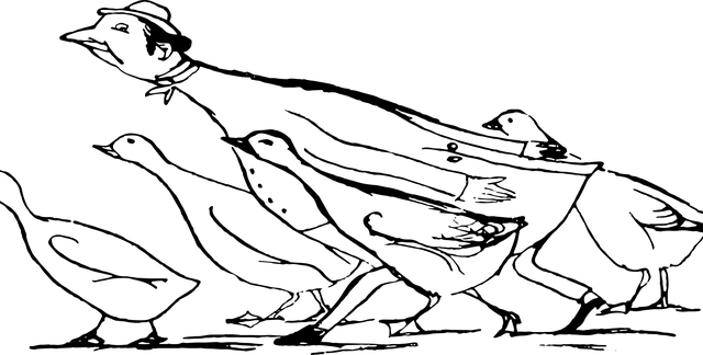 Edward Lear sketch of person pretending to be a goose.