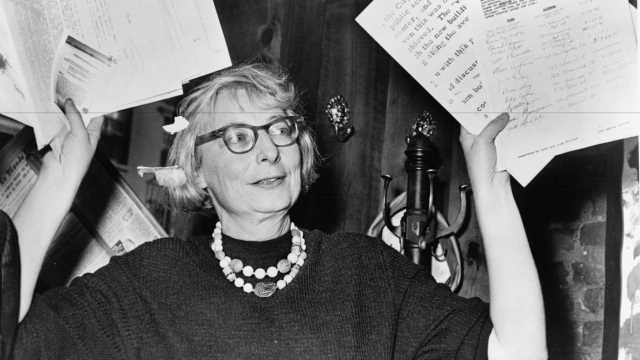 Black and white profile of Jane Jacobs in action