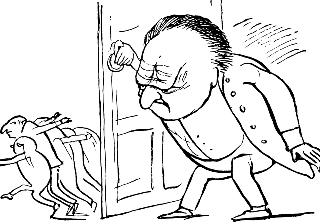 Edward Lear sketch of a scary boss opening the door