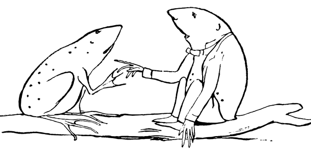 Sketch of two frogs talking