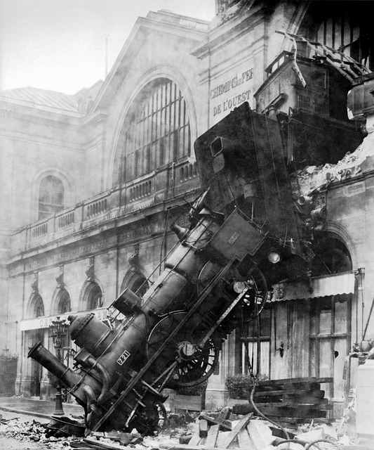 Vintage photo of train running through a building