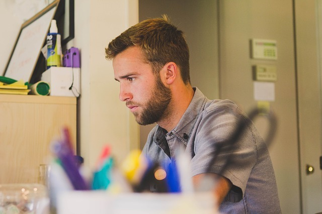 Concentrating worker at his desk