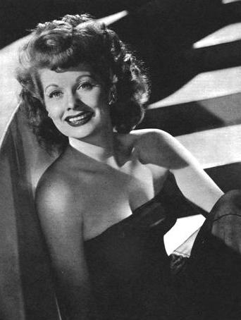 Black and white portrait of Lucille Ball on tour