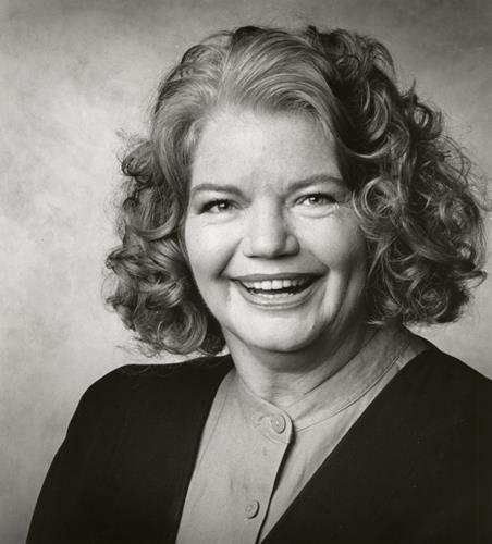 Black and white portrait of writer Molly Ivins