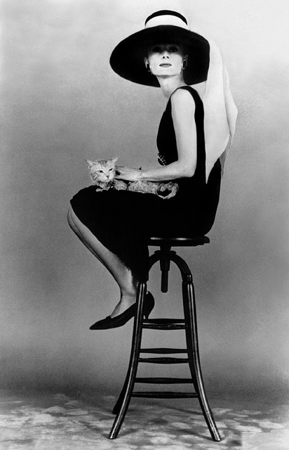 Black and white photo of Audrey Hepburn sitting on a stool